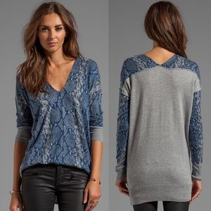 Rebecca Taylor Snake Printed V-Neck Sweater